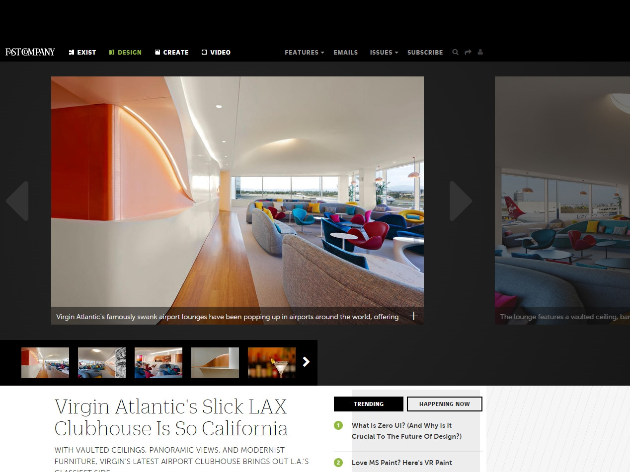 "Fast Co Design  ""Virgin Atlantic's Slick LAX Clubhouse is so California"" July 02, 2015"