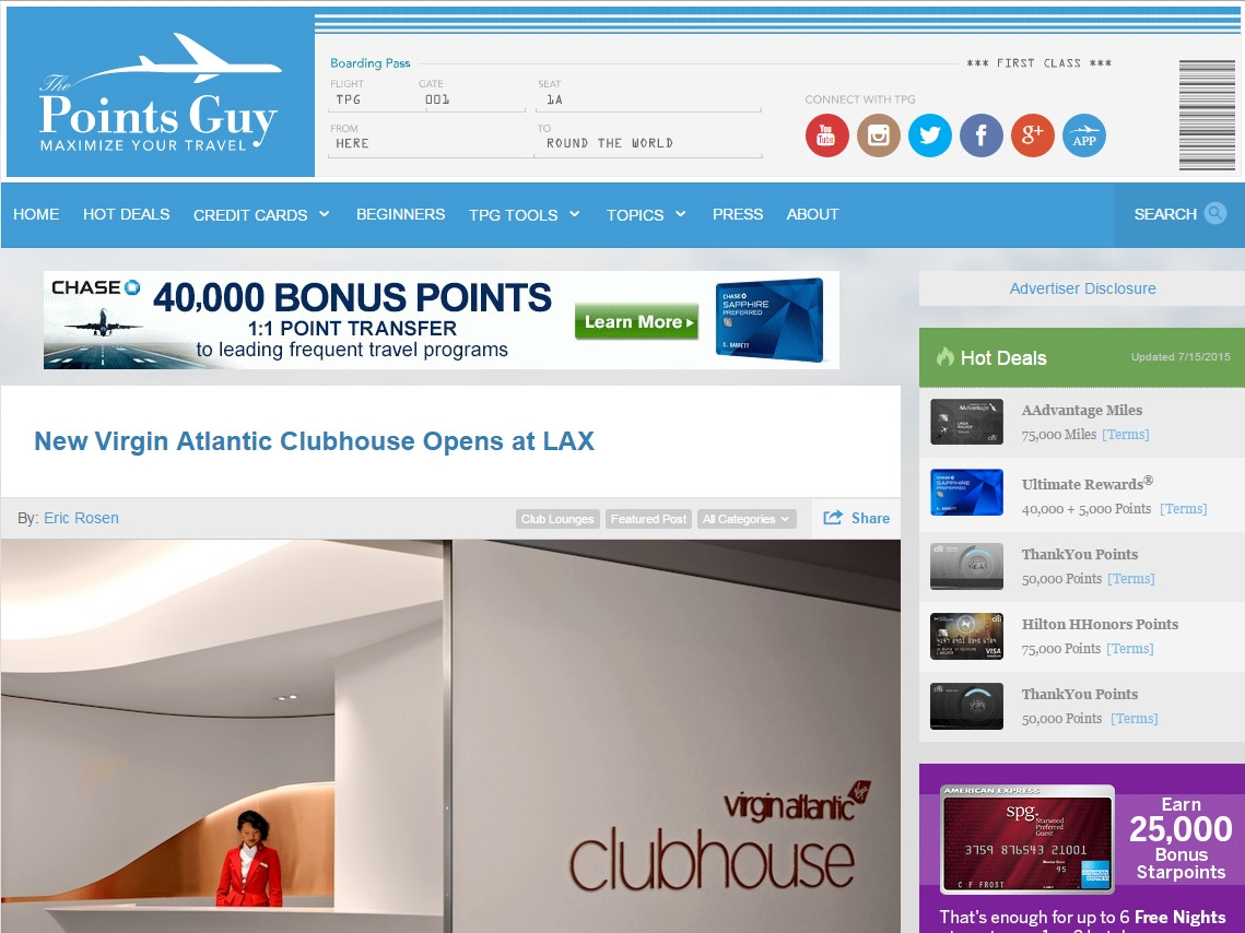"The Points Guy  ""New Virgin Atlantic Clubhouse Opens at LAX"" April 29, 2015"