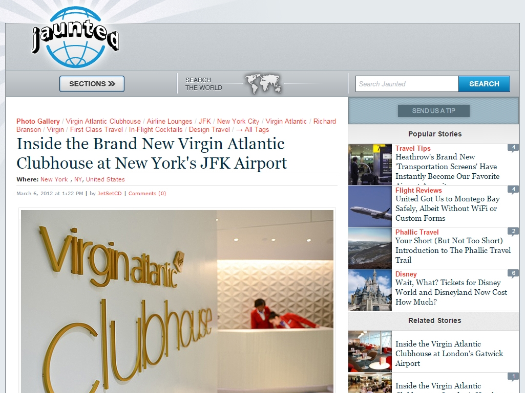 "Jaunted  ""Inside the Brand New Virgin Atlantic Clubhouse at New York's JFK Airport"" March 06, 2012"