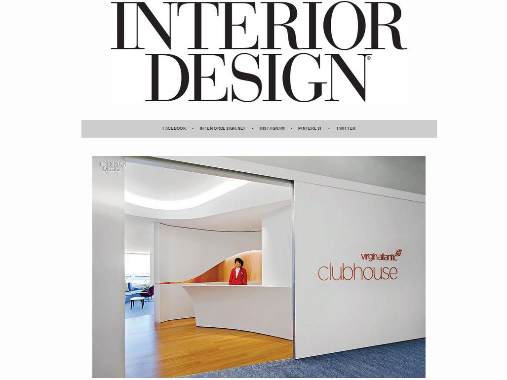 "Interior Design Magazine  ""LAX's Virgin Atlantic Clubhouse by Slade Architecture. Photography by Tom Sibley"" July 29, 2015"