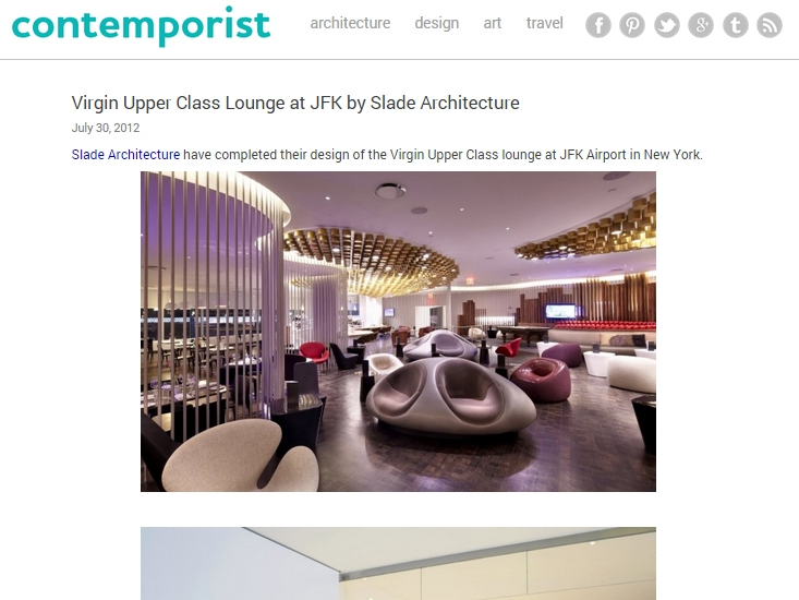 "Contemporist  ""Virgin Upper Class Lounge at JFK by Slade Architecture"" July 30, 2012"
