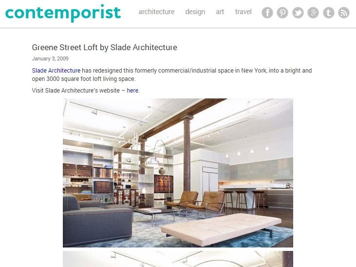 "Contemporist  ""Greene Street Loft by Slade Architecture"" January 03, 2009"