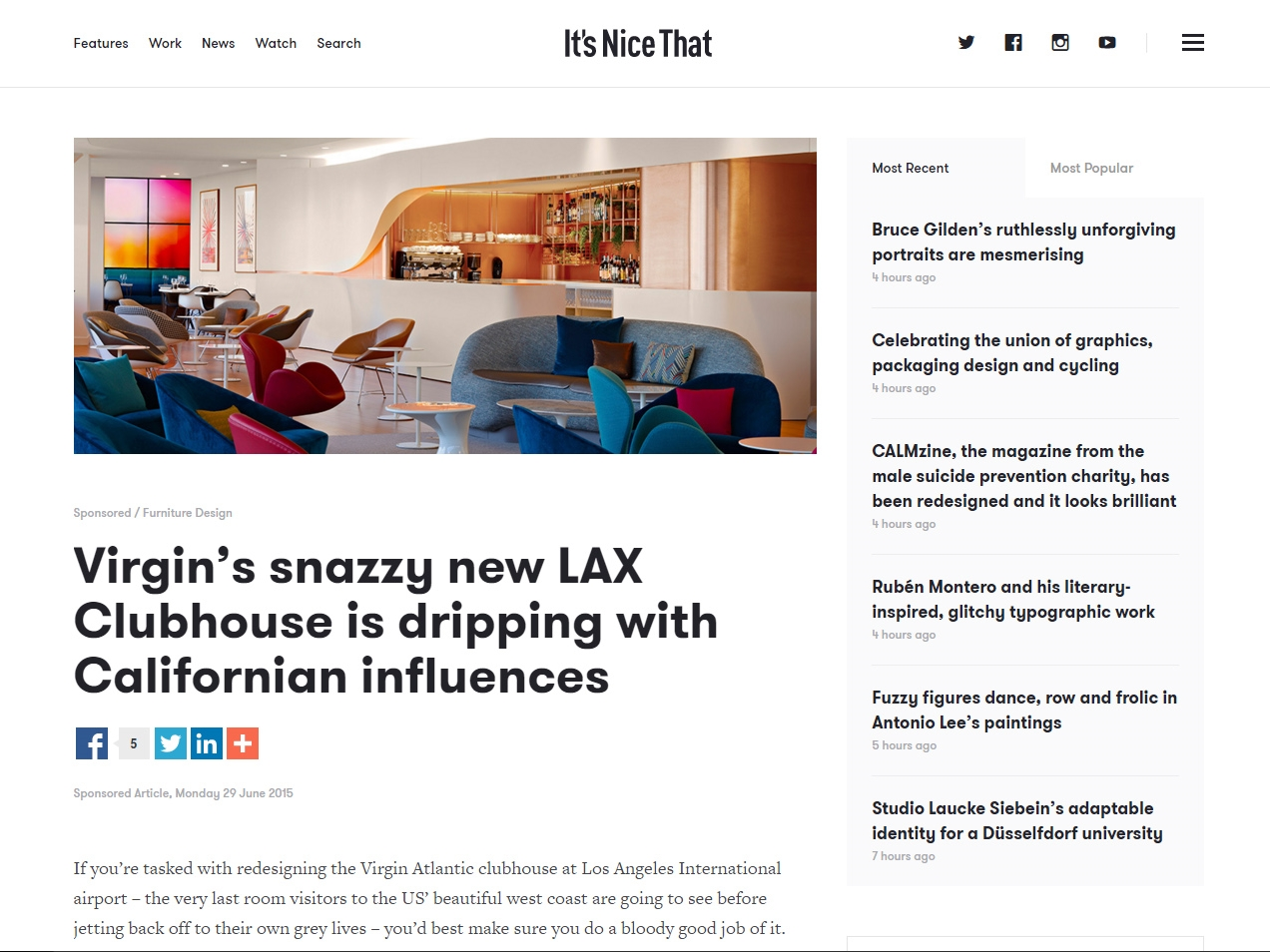 "It's Nice That  ""Virgin's Snazzy New Clubhouse is Dripping with Californian Influences"" June 29, 2015"