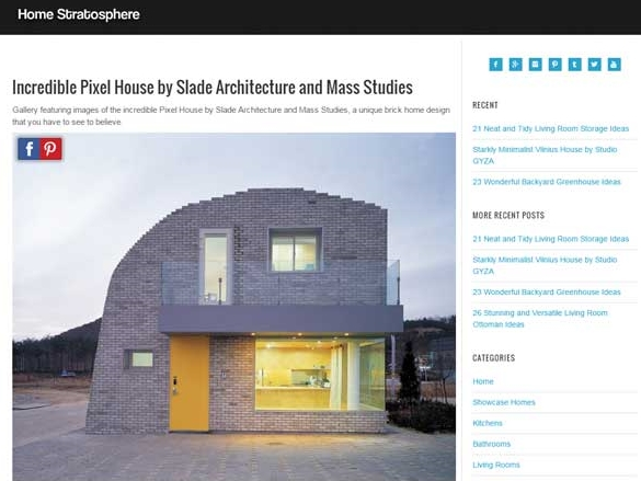 "Homes Stratosphere  ""Incredible Pixel House by Slade Architecture and Mass Studies"" January 05, 2016"