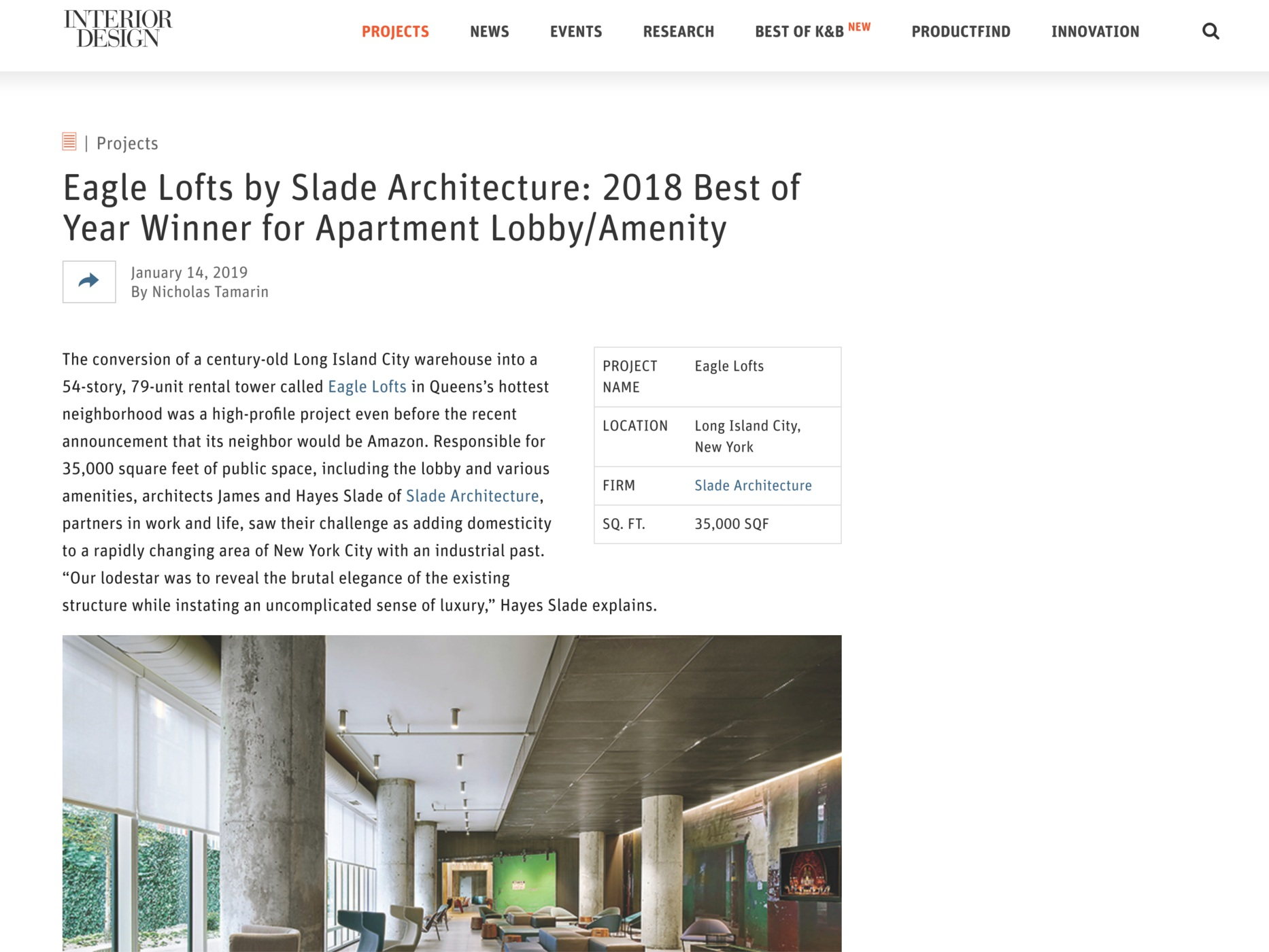 "Interior Design Magazine  ""Eagle Lofts by Slade Architecture: 2018 Best of Year Winner for Apartment Lobby/Amenity"" January 14, 2019"