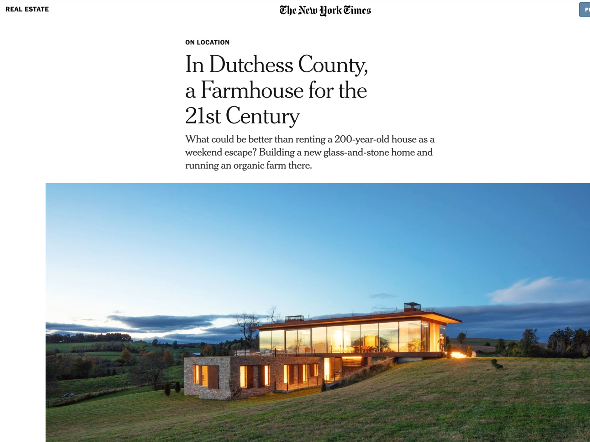 "The New York Times  ""In Dutchess County, a Farmhouse for the 21st Century"" February 12th, 2019"