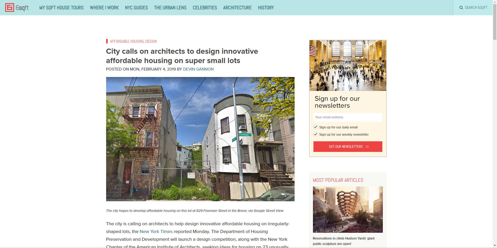 "6sqft  ""City Calls on Architects to Design Innovative Affordable Housing on Super Small Lots"" February 4th, 2019"