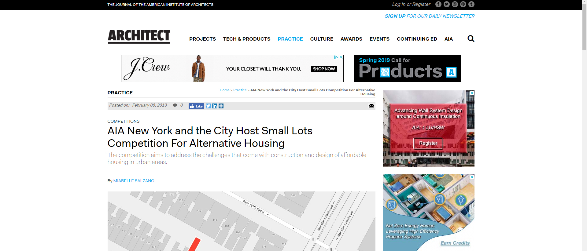 "Architect Magazine  ""AIA New York and the City Host Small Lots Competition for Alternative Housing"" February 8th, 2019"