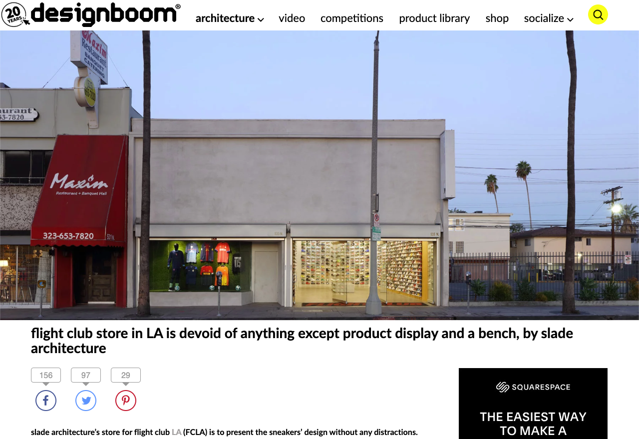 "Designboom  ""Flight club store in LA is devoid of anything except product display and a bench, by slade architecture"" February 27, 2018"
