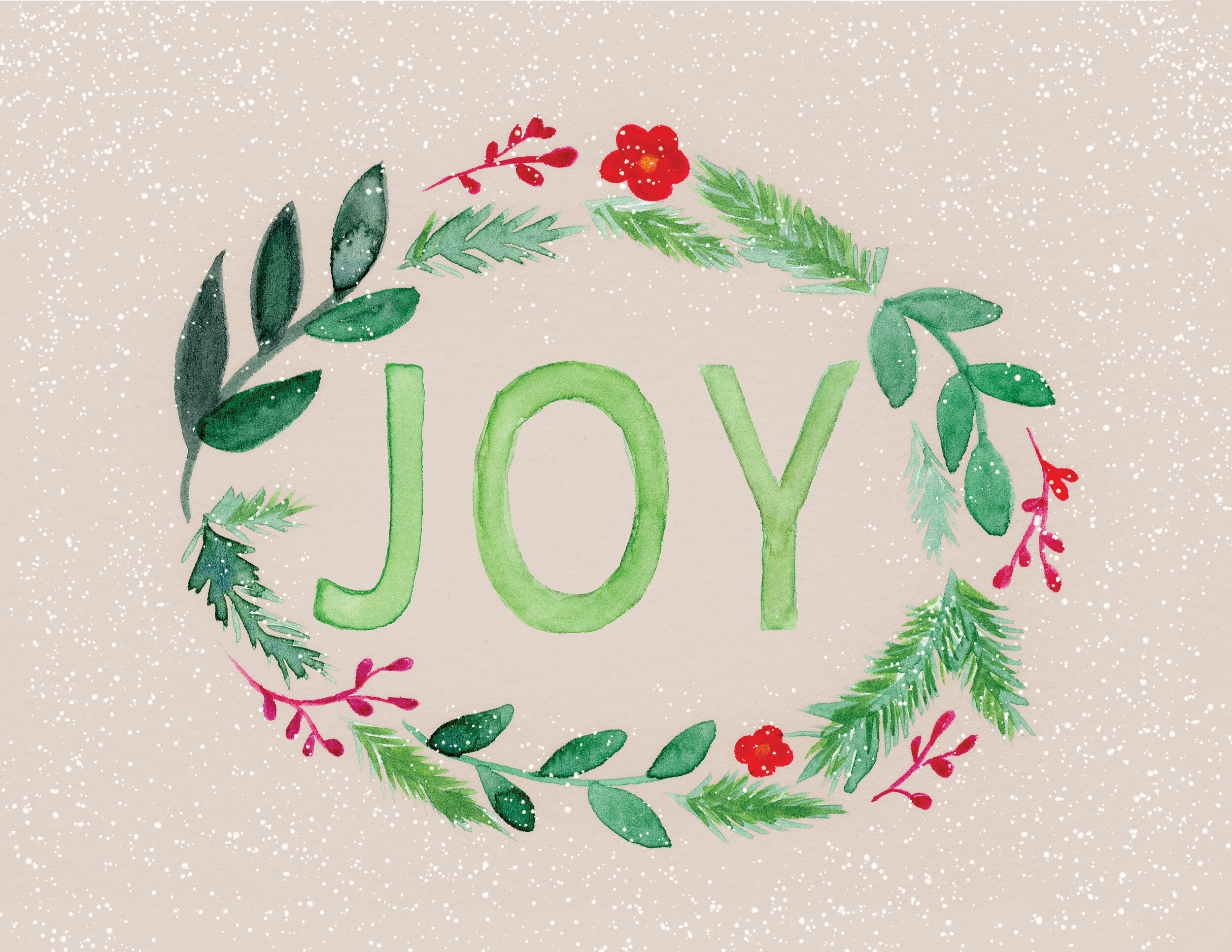 """""""Joy"""" is a sample of my handpainted lettering. This festive illustration was painted using watercolor then composited using Photoshop. This was sold to retail markets for Holiday 2018."""