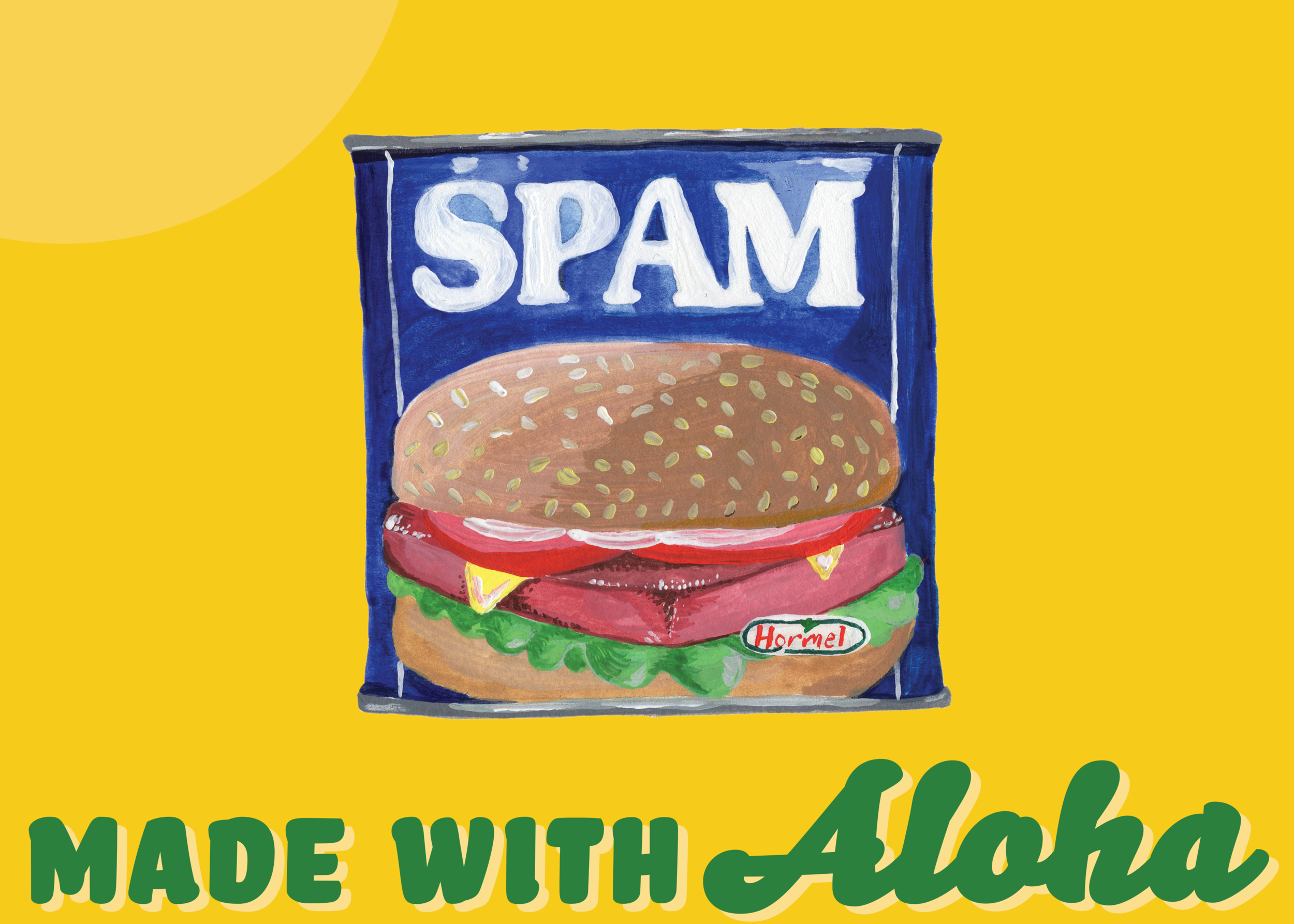 Test Illustration of Spam. This image was hand painted in gouache then digitally composited in Photoshop.