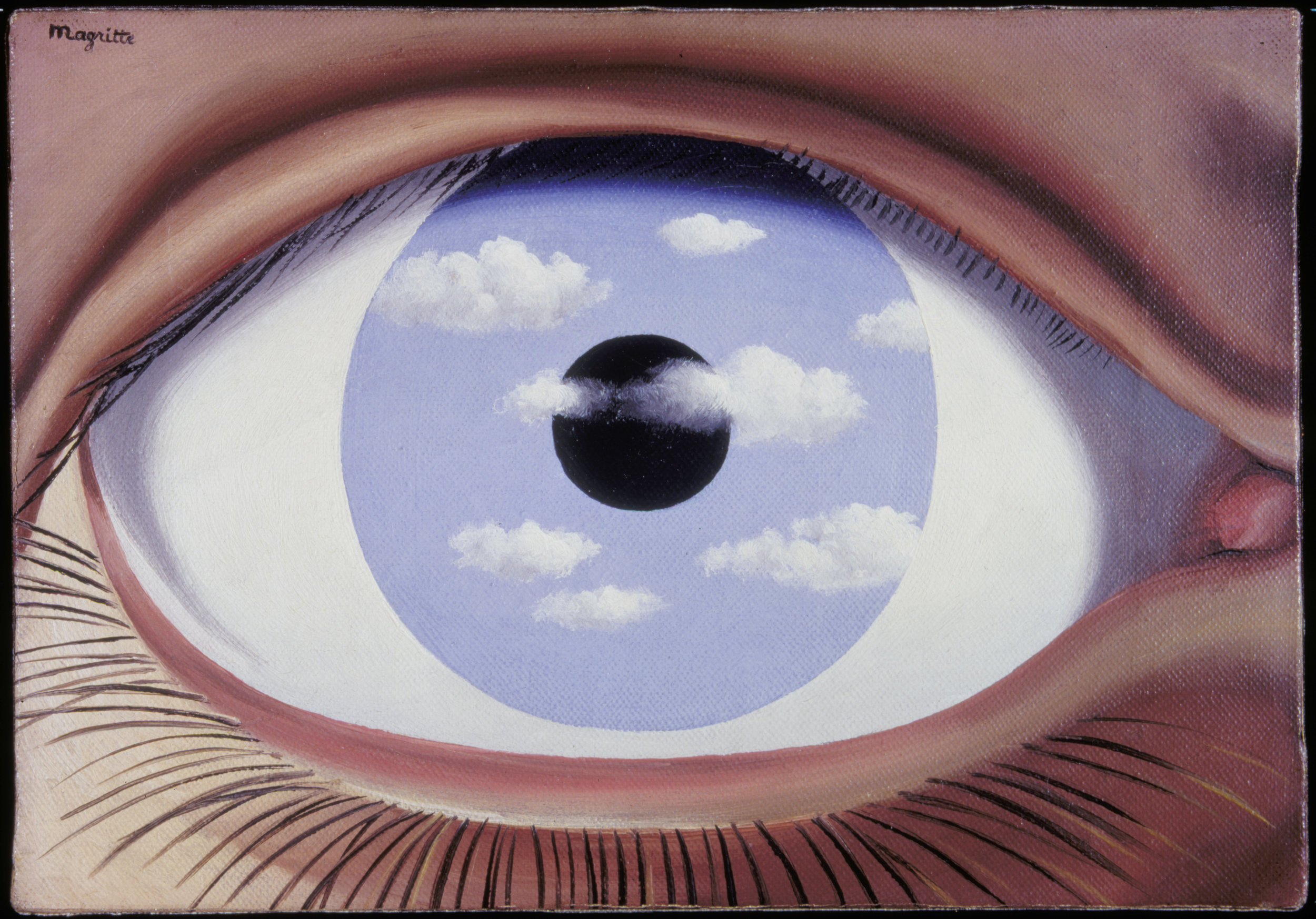 René Magritte ,  The False Mirror , 1935 © 2018 C. Herscovici / Artists Rights Society (ARS), New York