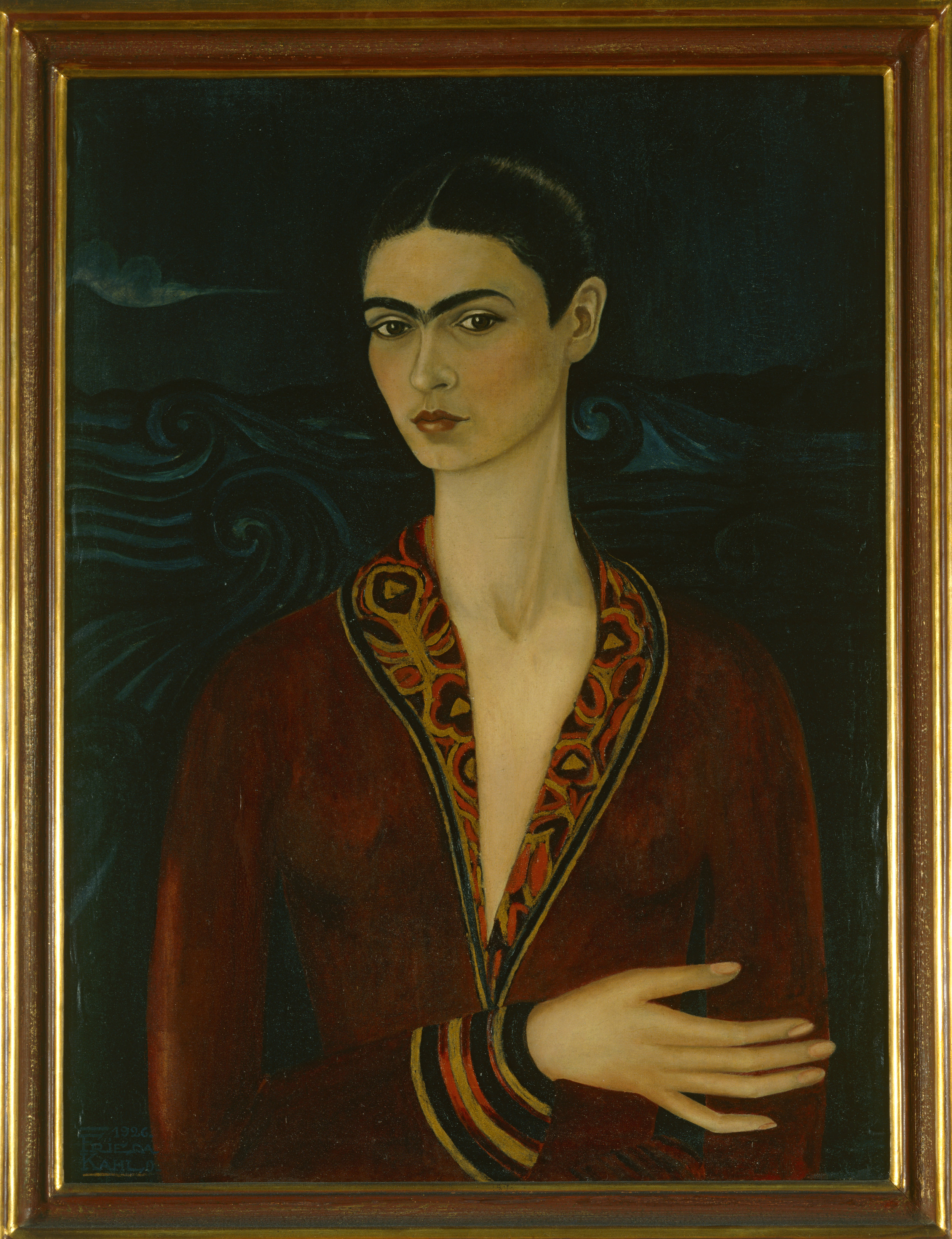 Frida Kahlo ,  Self-Portrait Wearing a Velvet Dress , 1926 © 2018 Banco de México Diego Rivera Frida Kahlo Museums Trust, Mexico, D.F. / Artists Rights Society (ARS), New York