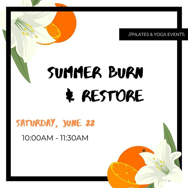 Sign up for Summer Burn & Restore with Yvonne & Sara! Swipe for more details. 👉  Don't miss this awesome, one-time Pilates & Yoga class!!🍊🌸 To sign up, stop by or call our front desk! Phone number in bio. Saturday, June 22, 10:00am-11:30am.⠀ .⠀ .⠀ .⠀ #ibjihpi #healthperformanceinstitute #training #wellness #therapy #integrativecare #highlandpark #moveyourbody #moveinspired #pilates #yoga #wellnessevent #matpilates #restorativeyoga #meditation