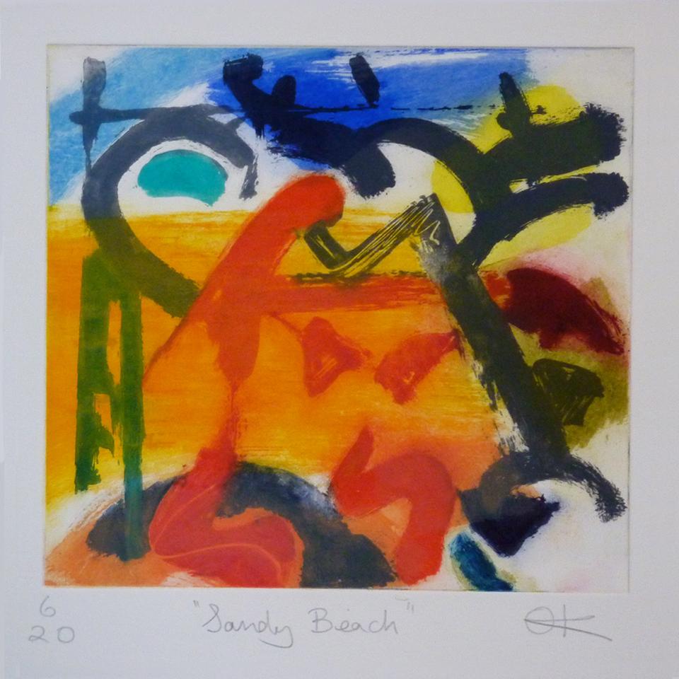 Sandy Beach, Hand-coloured etching, 48 x 46 cm
