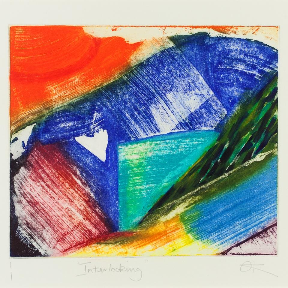 Interlocking, Hand-coloured etching, 49 x 43 cm