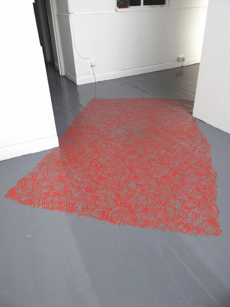Across Hatching, 2013, Acrylic paint on floor, 240 x 170 cm