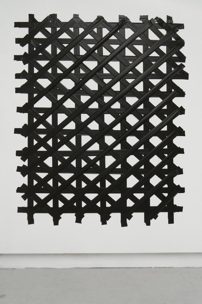Black Grid, 2012, Plastic Band and tape, c.150 x 180 cm