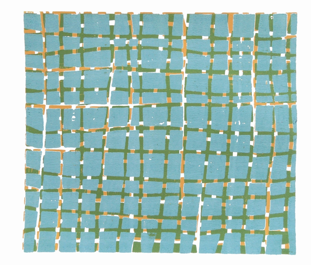 Woodblock (Blue, Green, Yellow), 2012, Relief print on Fabriano paper, 25 x 22 cm
