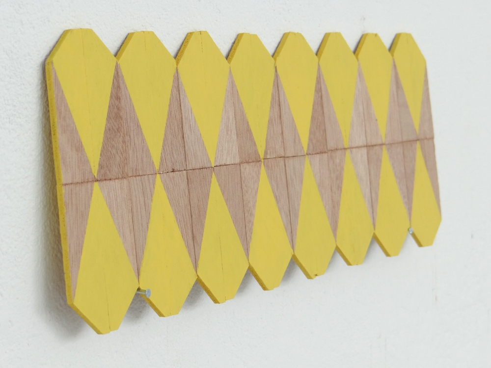 Yellow Wedges, 2013, Wood and wall paint, 30.5 x 12 x 0.3 cm