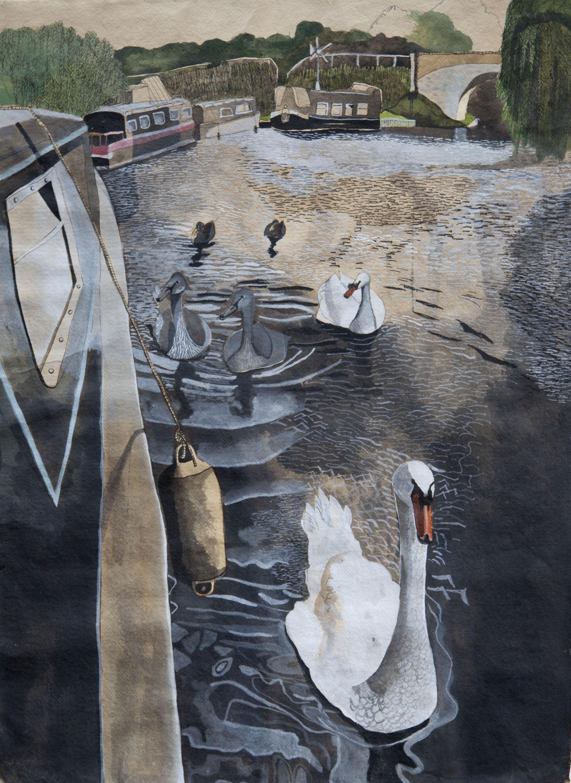 Swans at Marsworth,2011, mixed media on Khadi paper,102 x72 cm