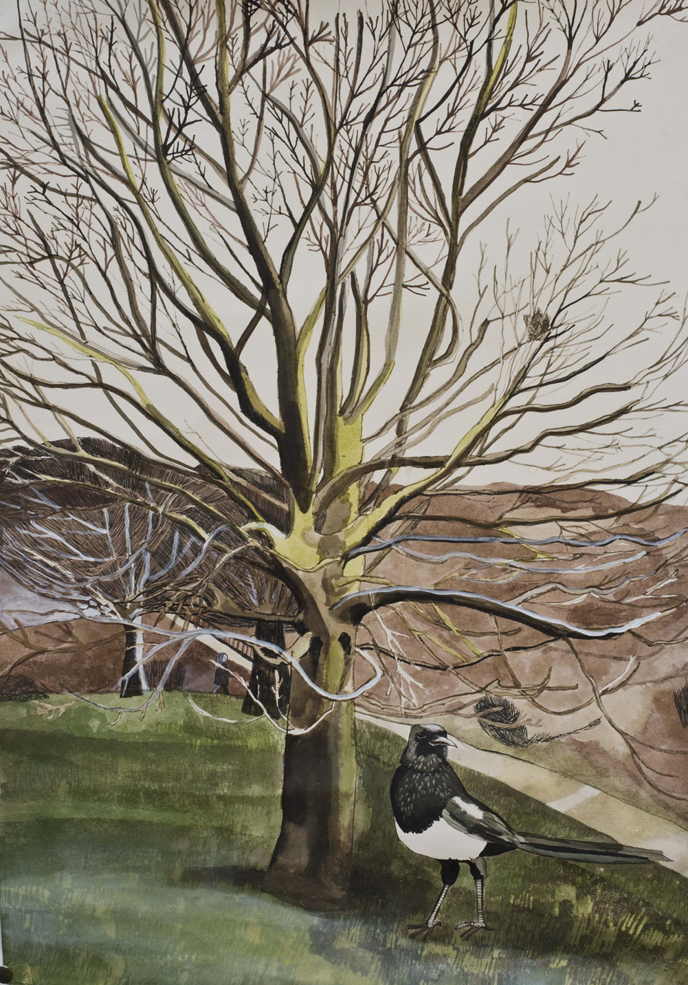 Magpie Morning, Hampstead Heath, 2012, mixed media on paper, 72 x 52 cm