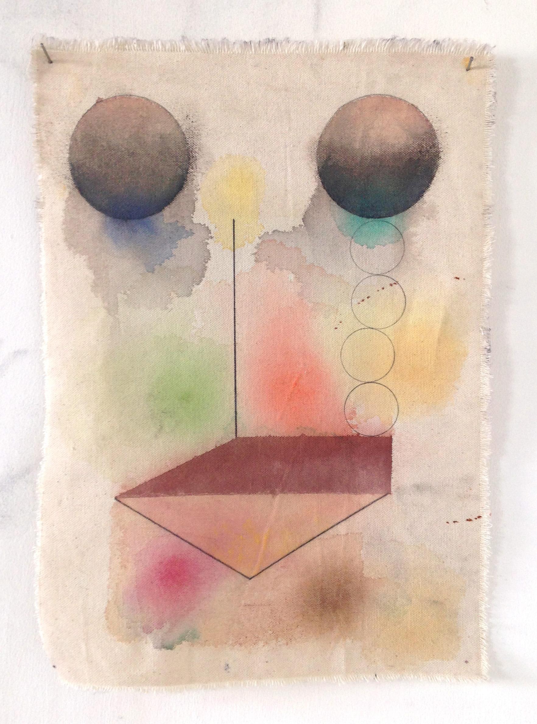 On Serdica, 2015 Pencil, gouache, pastel and canvas,39.5 x 28.5 cm