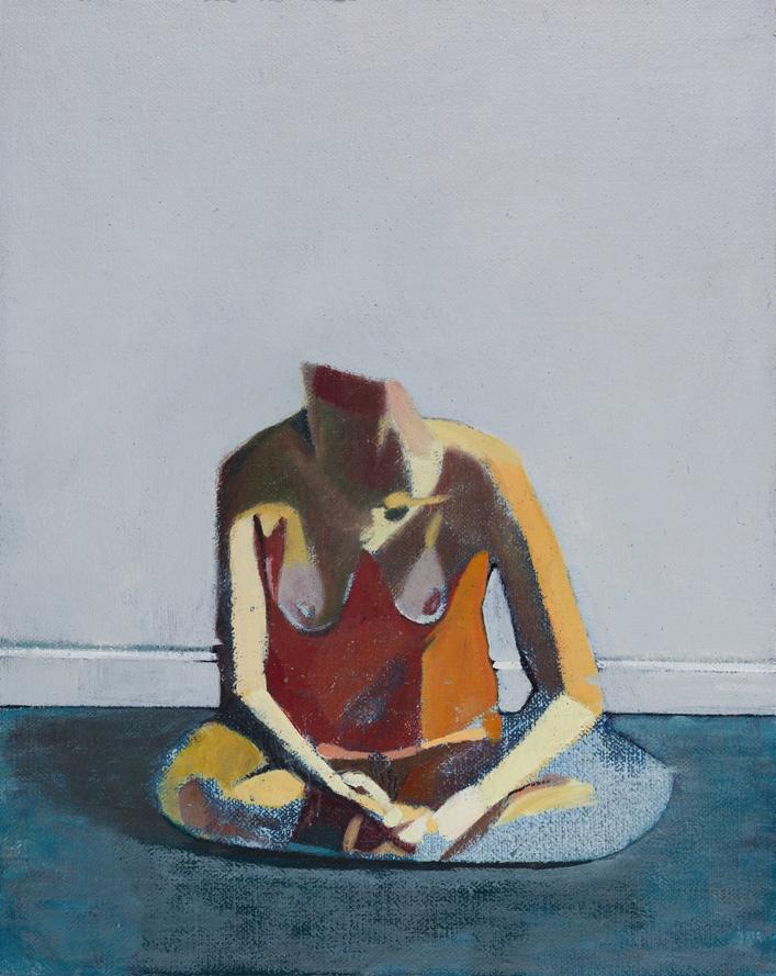 Headless Nude (Seated,Pale Blue / Blue  ), 2014 Oil on linen on board, 10x 8in