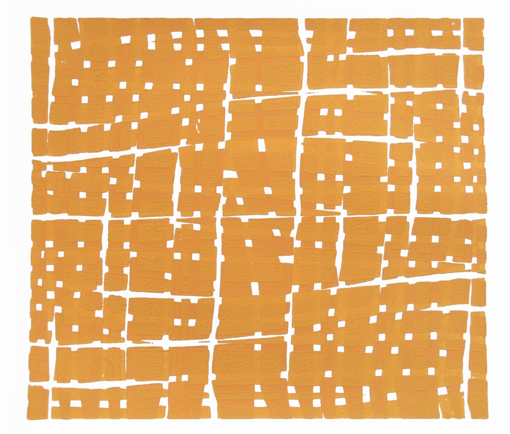 Woodblock Grid – Yellow, 2012, Vera Boele-Keimer (Relief print on Fabriano paper; 25 x 22cm)