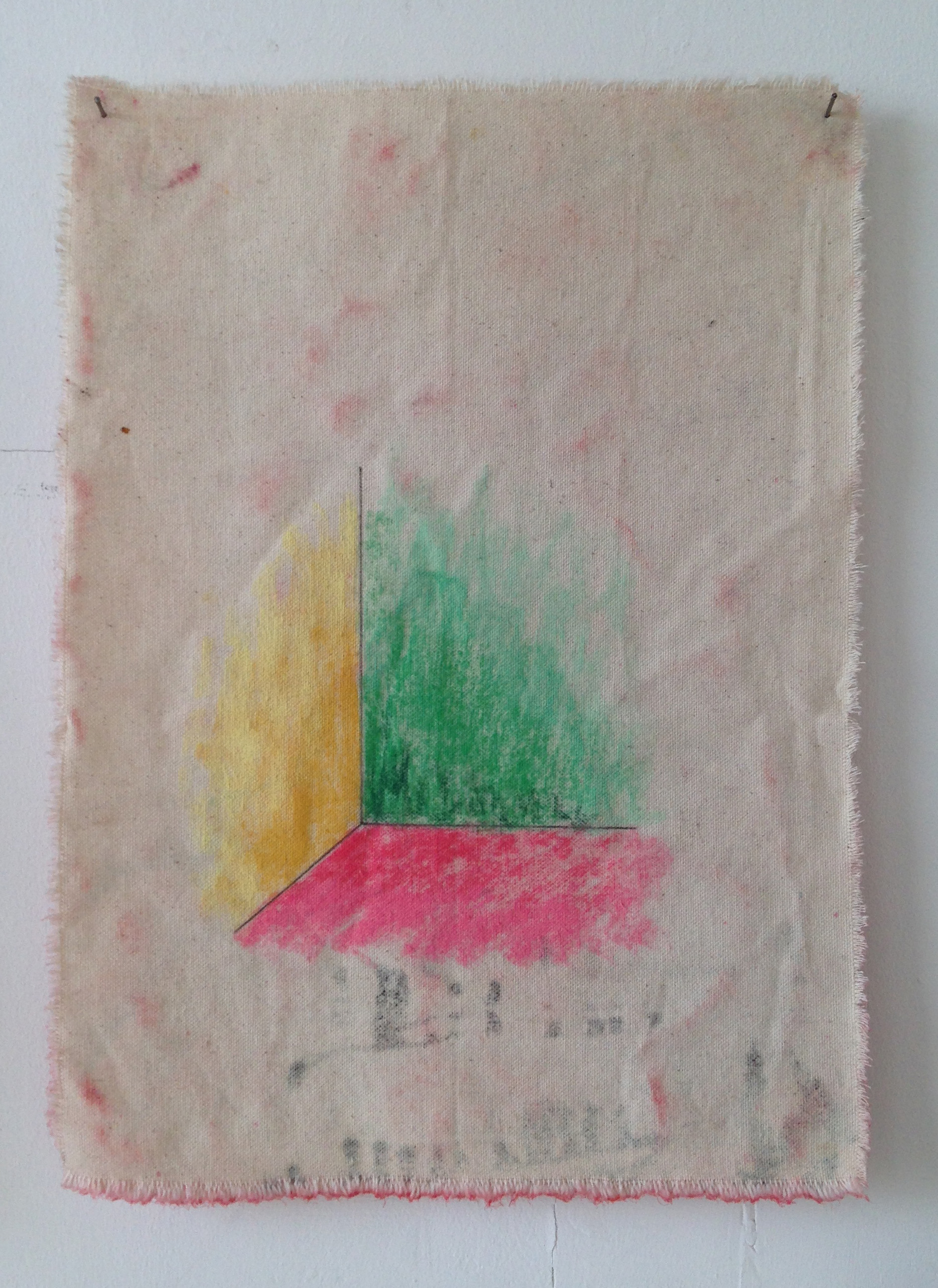 A Conversation Once Had In a Study Down a Corridor, 2015, Pencil, pastel and canvas,40 x 28.5 cm