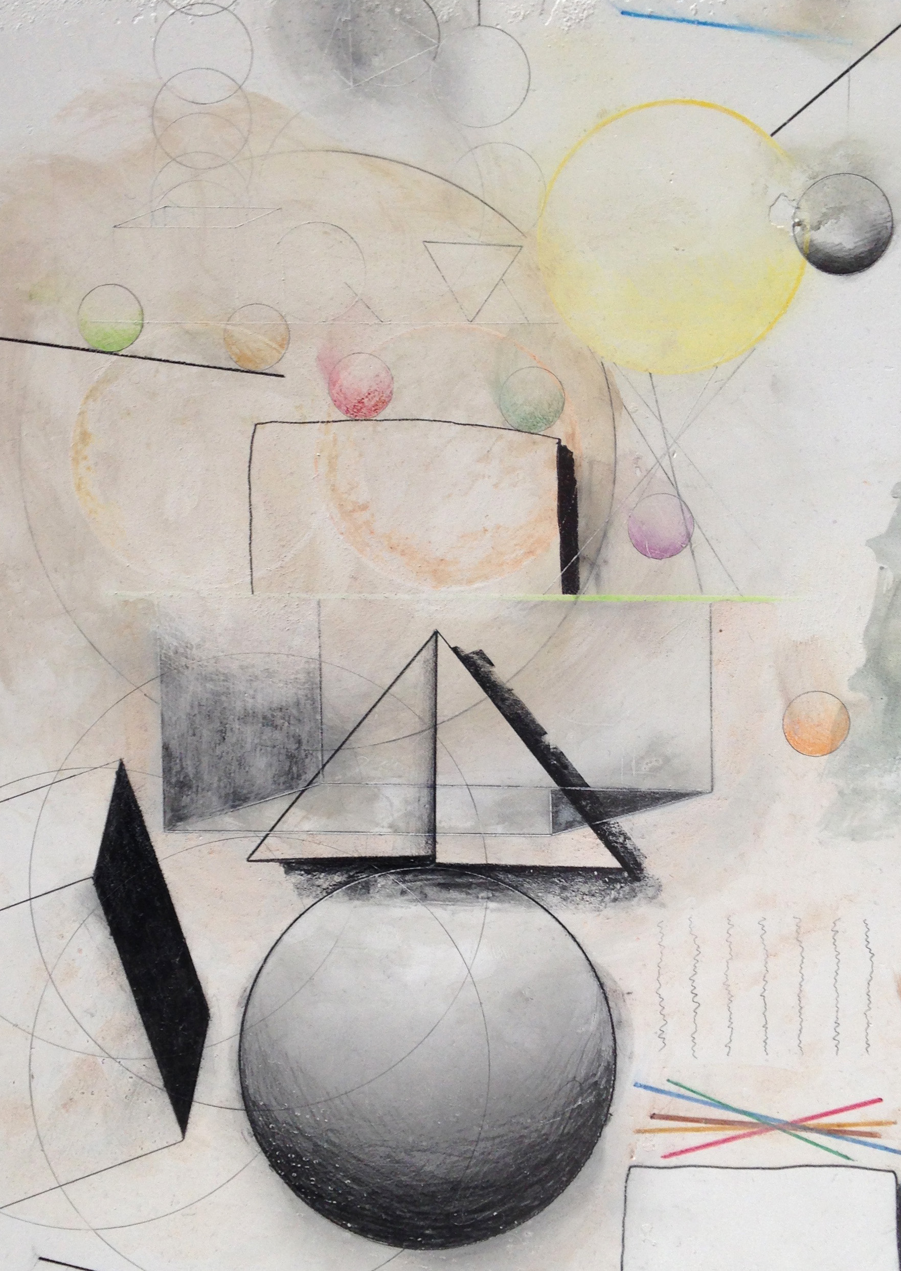 I, 2014, Pencil, coloured pencil and egg tempuraon plaster, 30.5 x 22.5cm