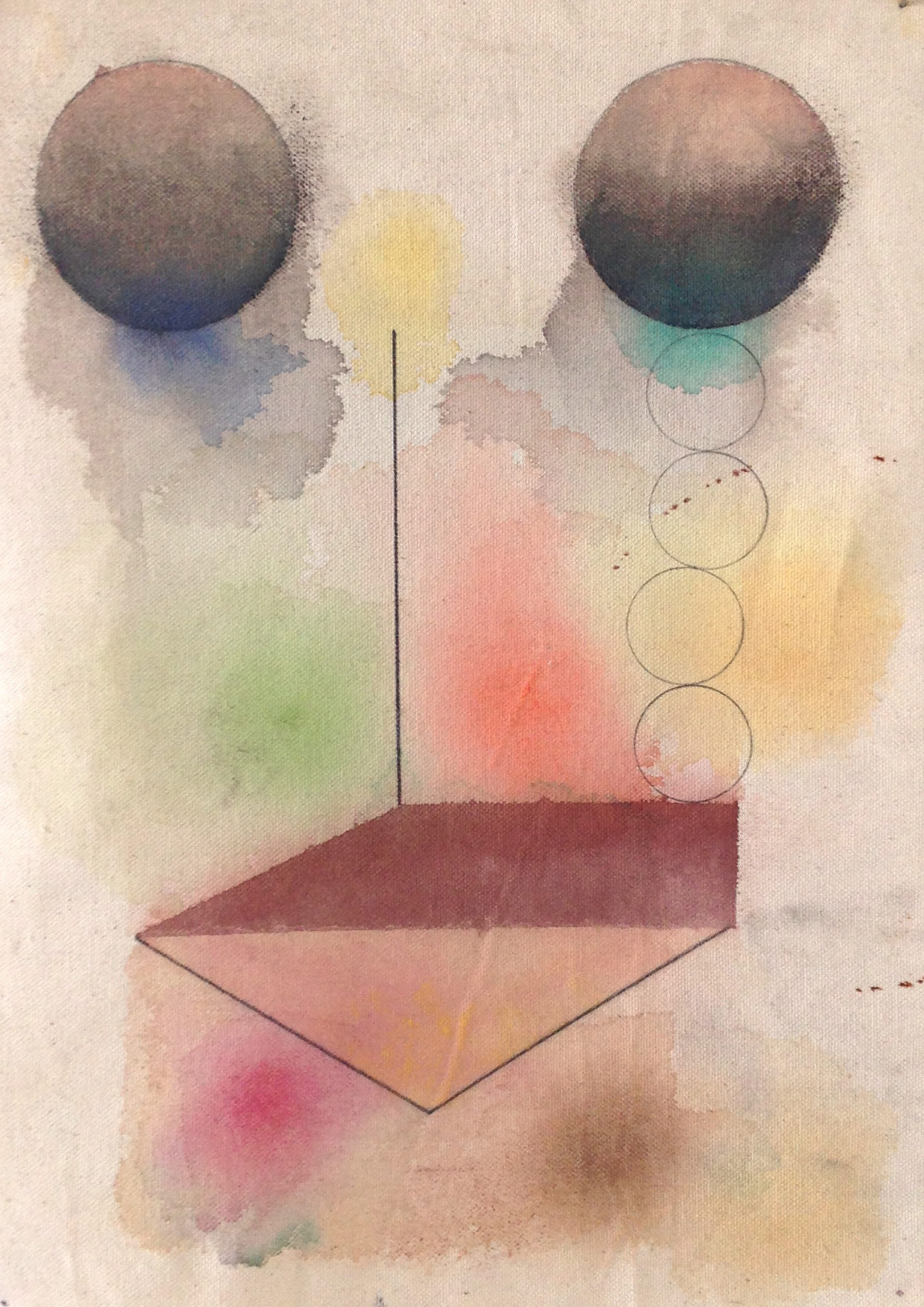 On Serdica, 2015, Pencil, gouache, pastel and canvas,39.5 x 28.5 cm