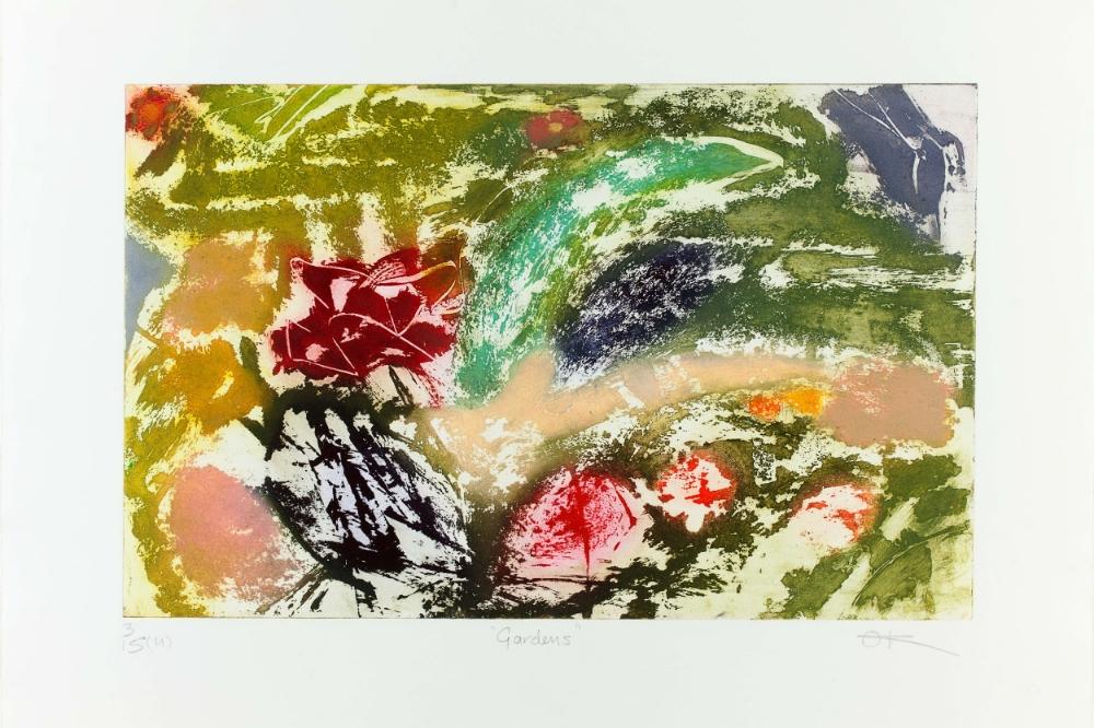 Gardens, Hand-coloured etching, 30 x 40 cm