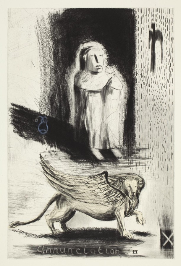 Deborah Bell, Annunciation II (Drypoint and chine colle, 40, 03/40, 49.8 x 37.8 inches)