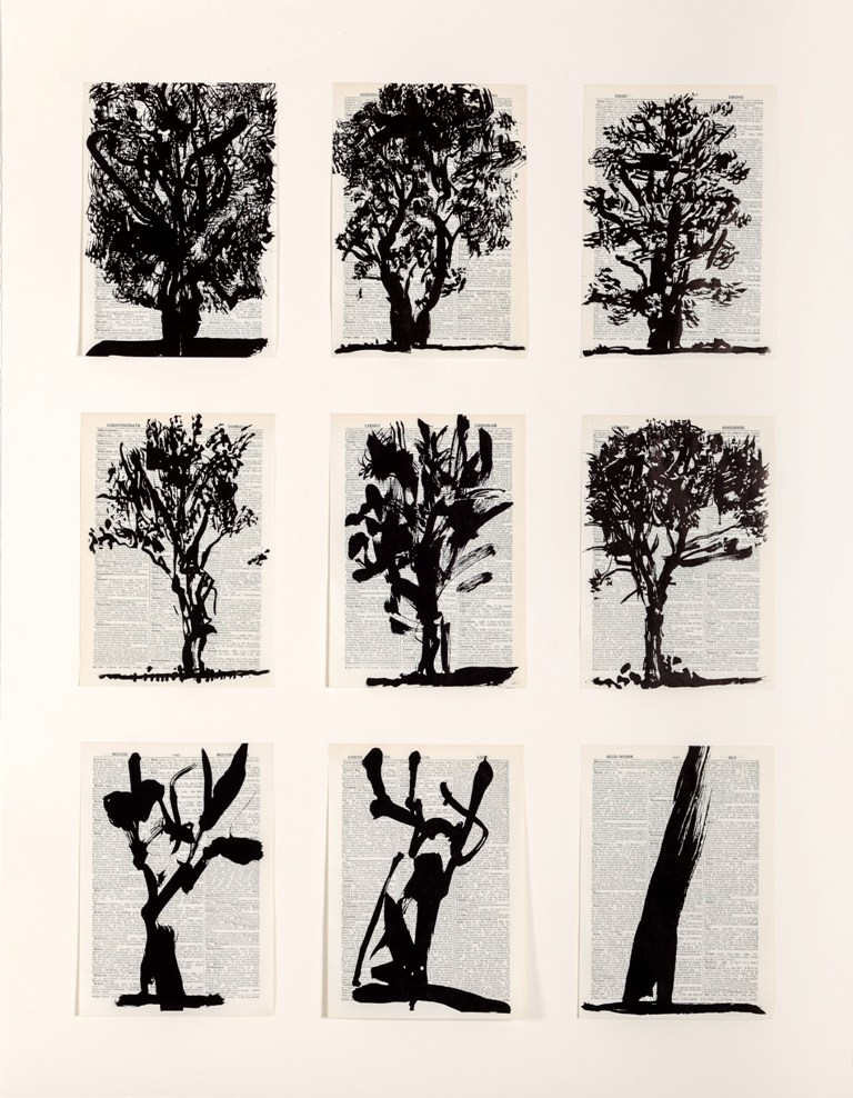 William Kentridge, Universal Archive (Nine Trees) (Linocut printed on two sheets of non-archival pages from Shorter Oxford English Dictionary mounted by a single tab attaching pages to backing sheet, edition of 30, 108 x 84cm)