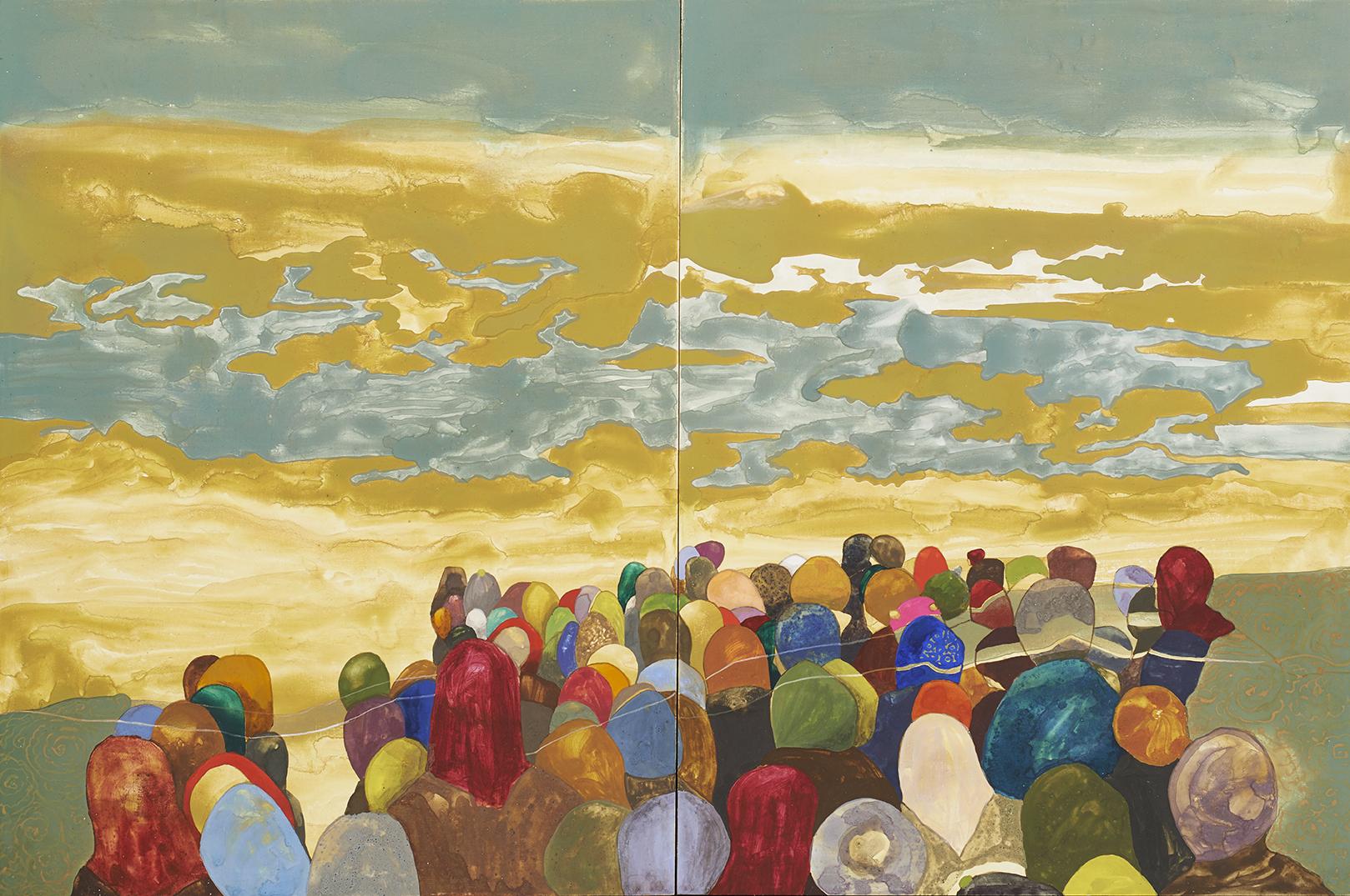 Crossing (Diptych), 2013, Egg Tempera on Wood,30 x 40 cm x 2