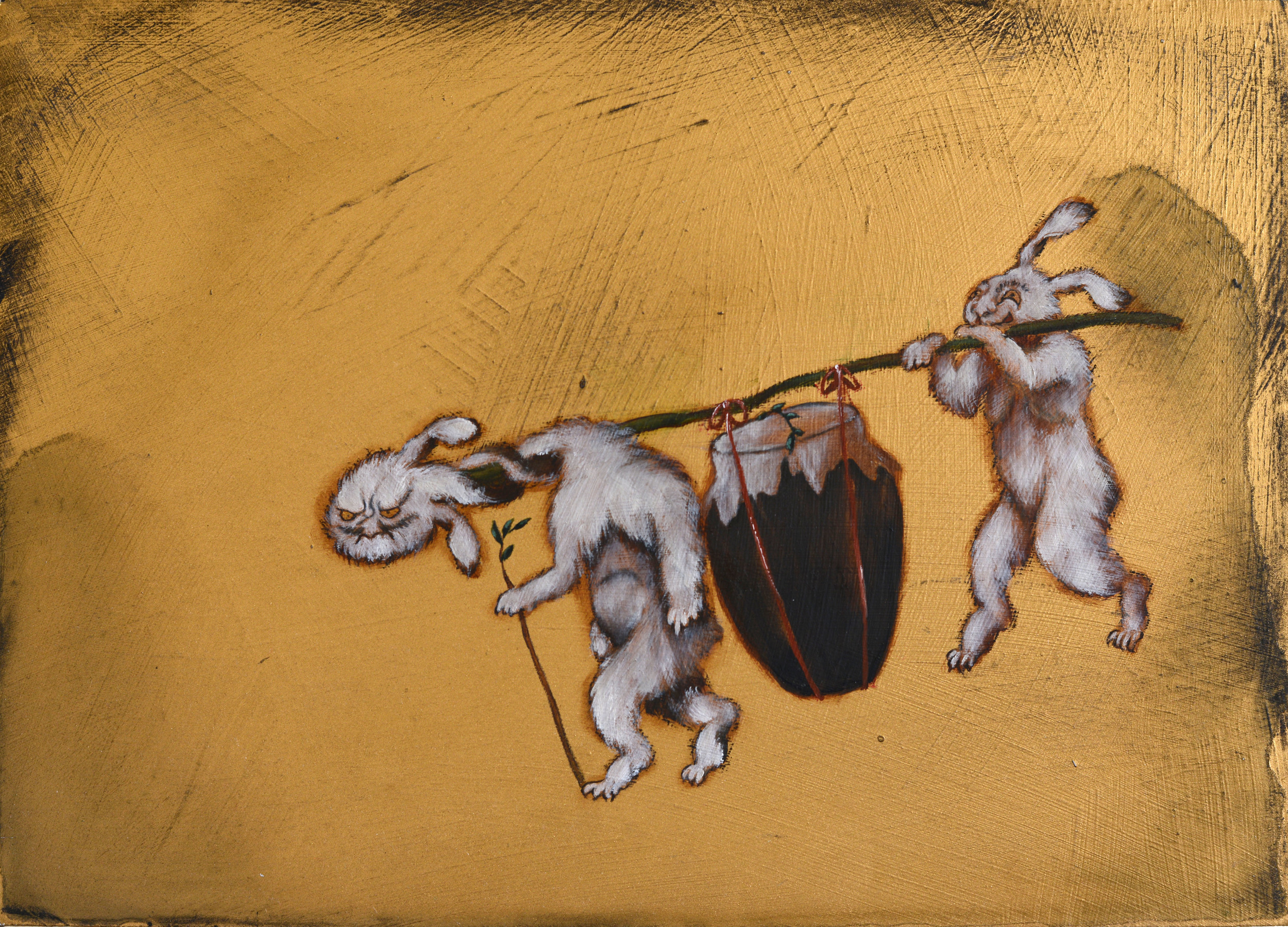 Couriers,2014, oil and acrylic on board, 21 x 30 cm