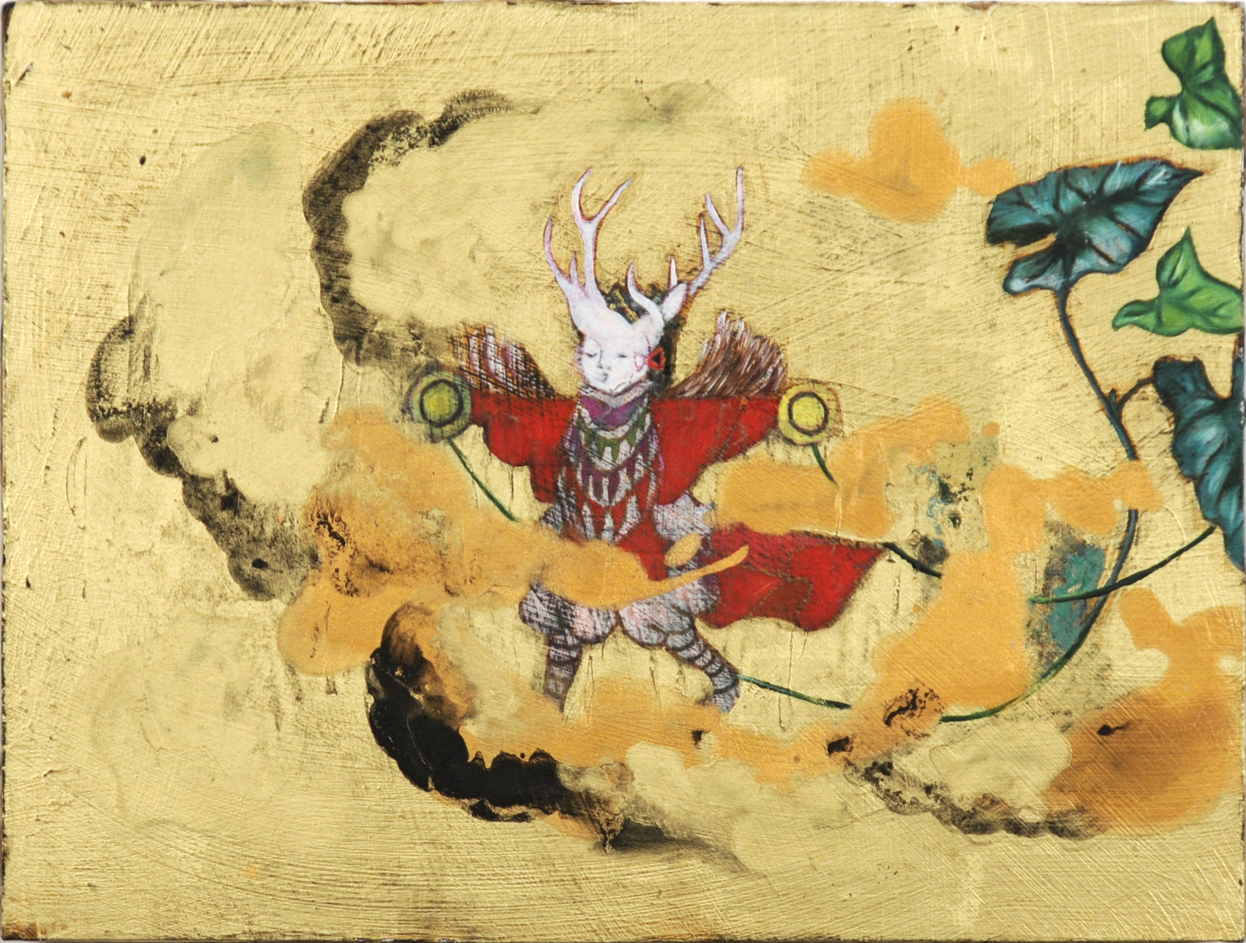 White Deer God,2011, oil and acrylic on board 19.5 x 26 cm