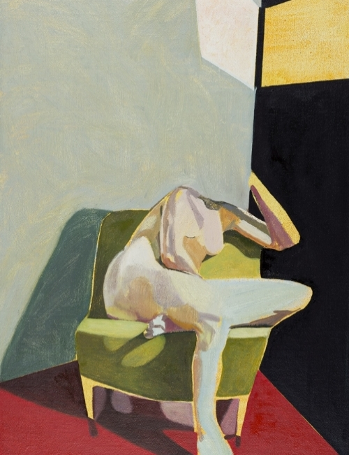 FINCH Headless Nude (Seated, Red:Black, Yellow Light) 2015 16 x 12 in.jpg