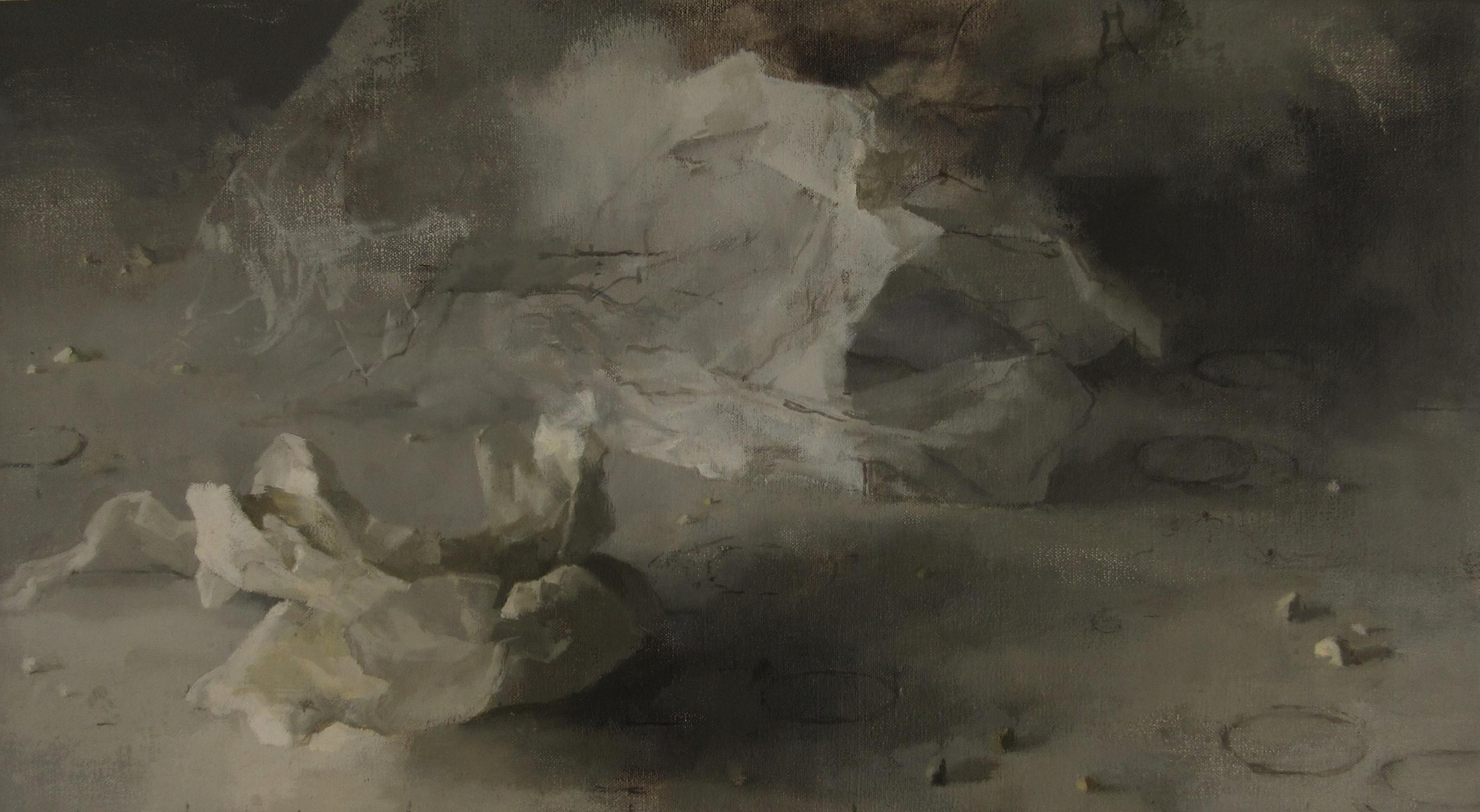 Drift, 2015, oil on canvas laid on board, 57 x 31 cm