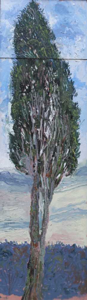 Cypress in Tuscany, oil on board, 52 x 13 inches