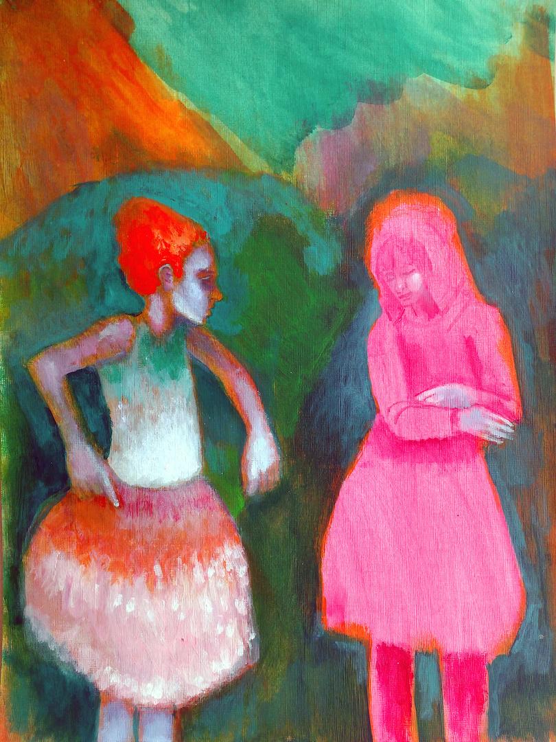 Nahem Shoa, Teenage Grotto, 2015, acrylic on paper, 40.5 - 30.5 cm