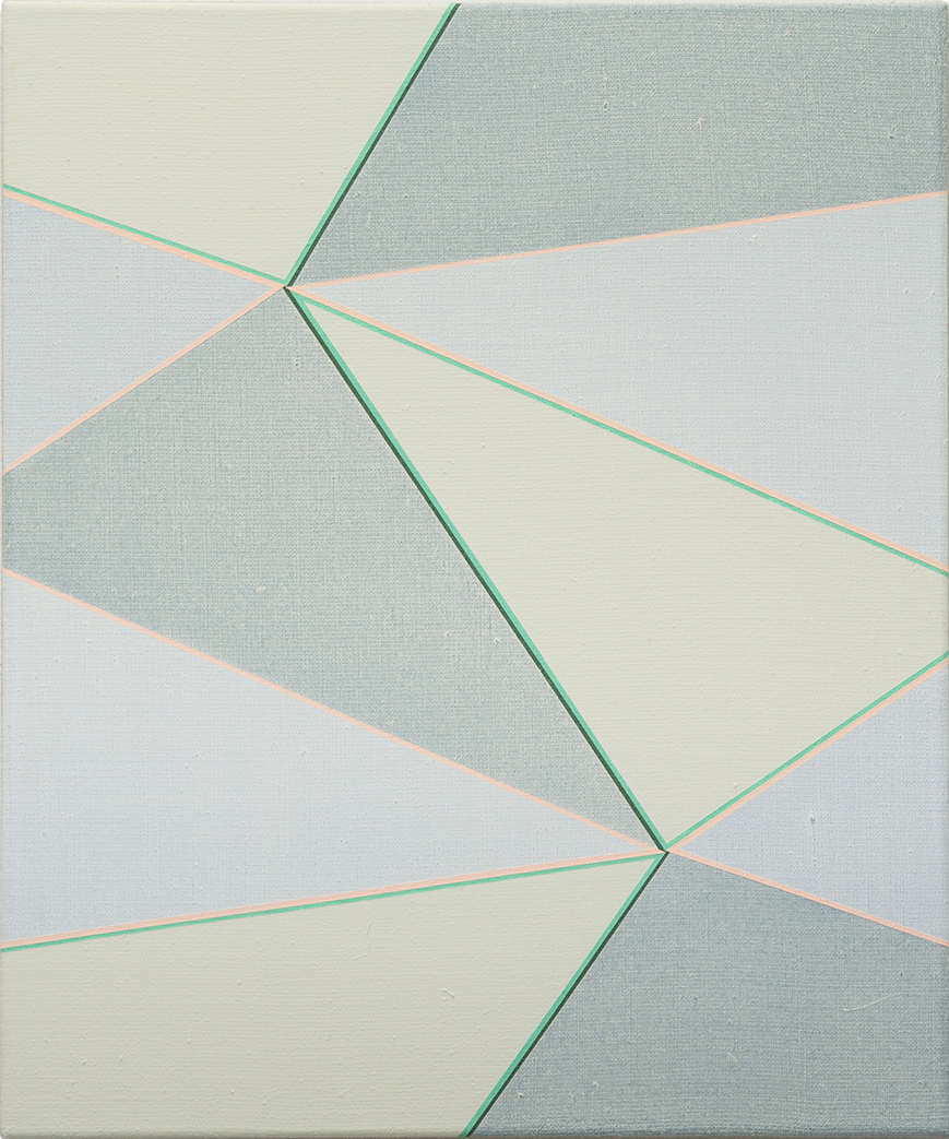 Double Hexad 2 Vert Veronese-Peach, 2017, A  crylic on Linen,  60 x 50 cm