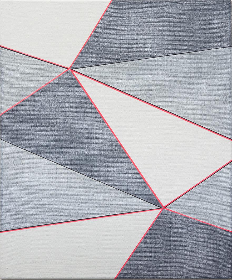 Double Hexad 2 Black-Flame, 2017,  Acrylic on Linen,  60 x 50 cm