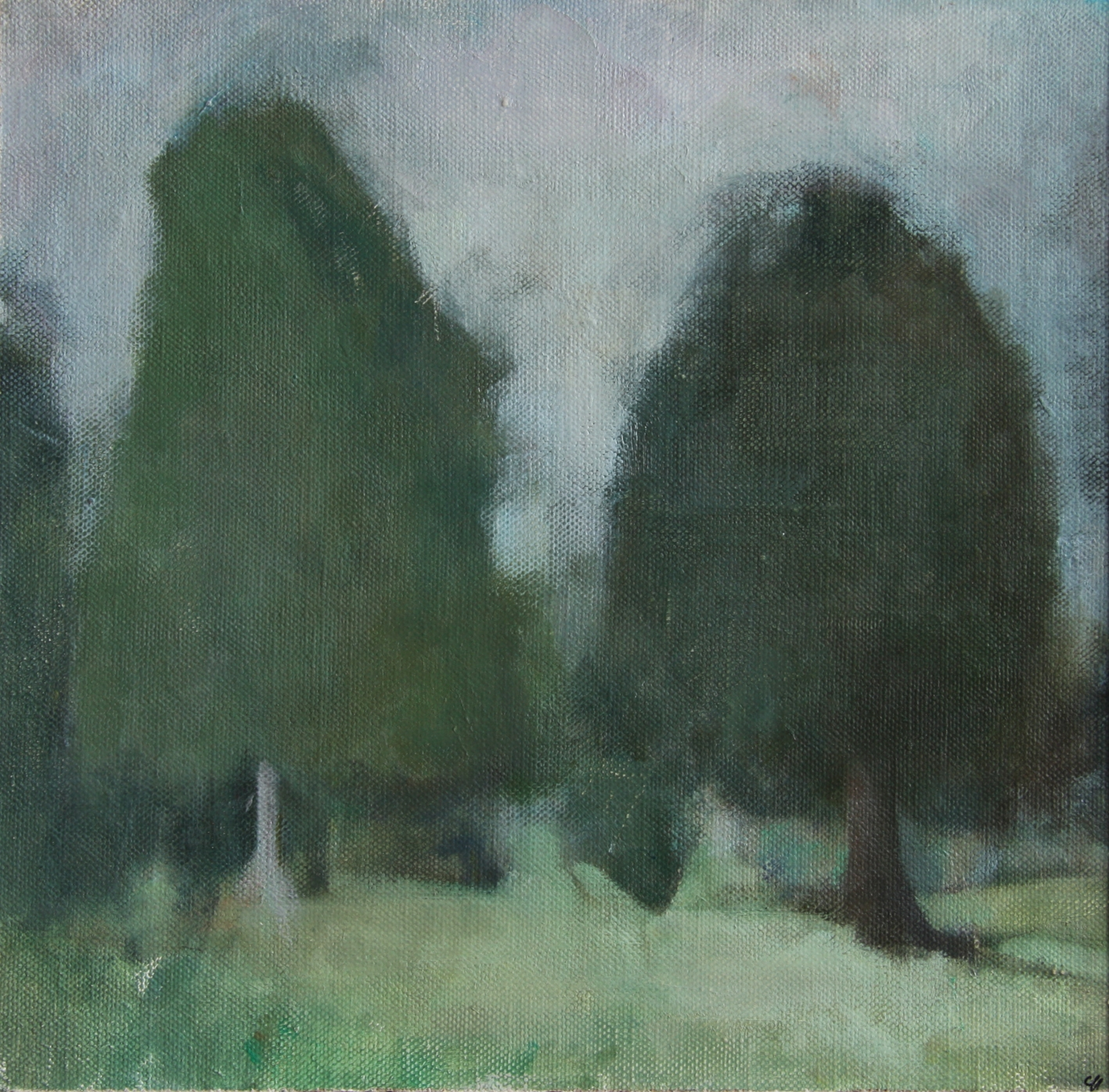 Untitled (Through the trees),2015,Oil on Linen,29 x 30 cm