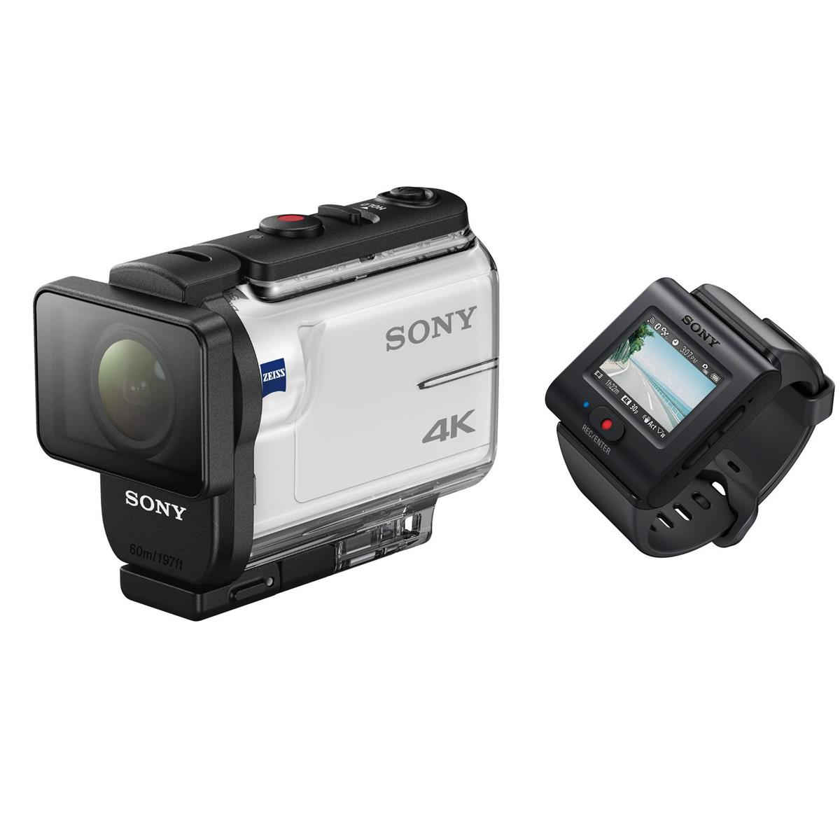 Sony 4K Action Cam with LIVE VIEW remote-  this package comes with a live view display that you wear on your wrist that connects via Wifi to your Sony Action Cam.  This solves the problem of just wondering how you're going to compose your shot.  It's also highly beneficial for changing your shot on the go vs. looking a the back of a small screen on the camera like you have on a GoPro...and it drains far less on battery life of the camera as well compared to a screen.