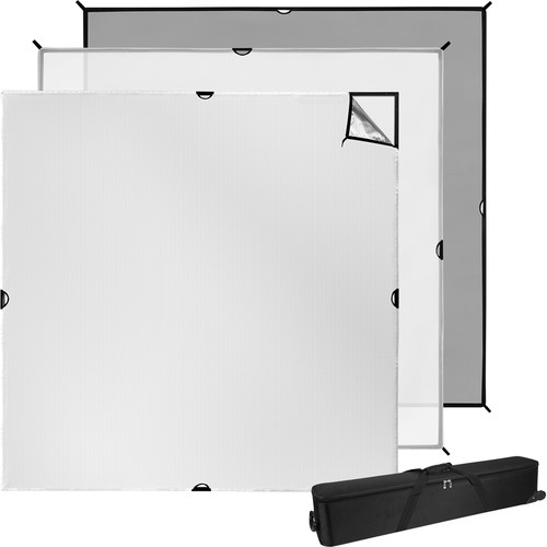 Westcott 8x8 Scrim Jim Cine Kit - this is a MASSIVE frame that gives you truly Hollywood style lighting.  You can attach diffusers, reflectors, and cutters to this to create stunning results.  It breaks down into pieces and fits into a carrying case.  This is 8 foot x 8 foot of lighting pleasure.  This Cine Kit comes with a 3/4 stop diffuser and a silver reflector.