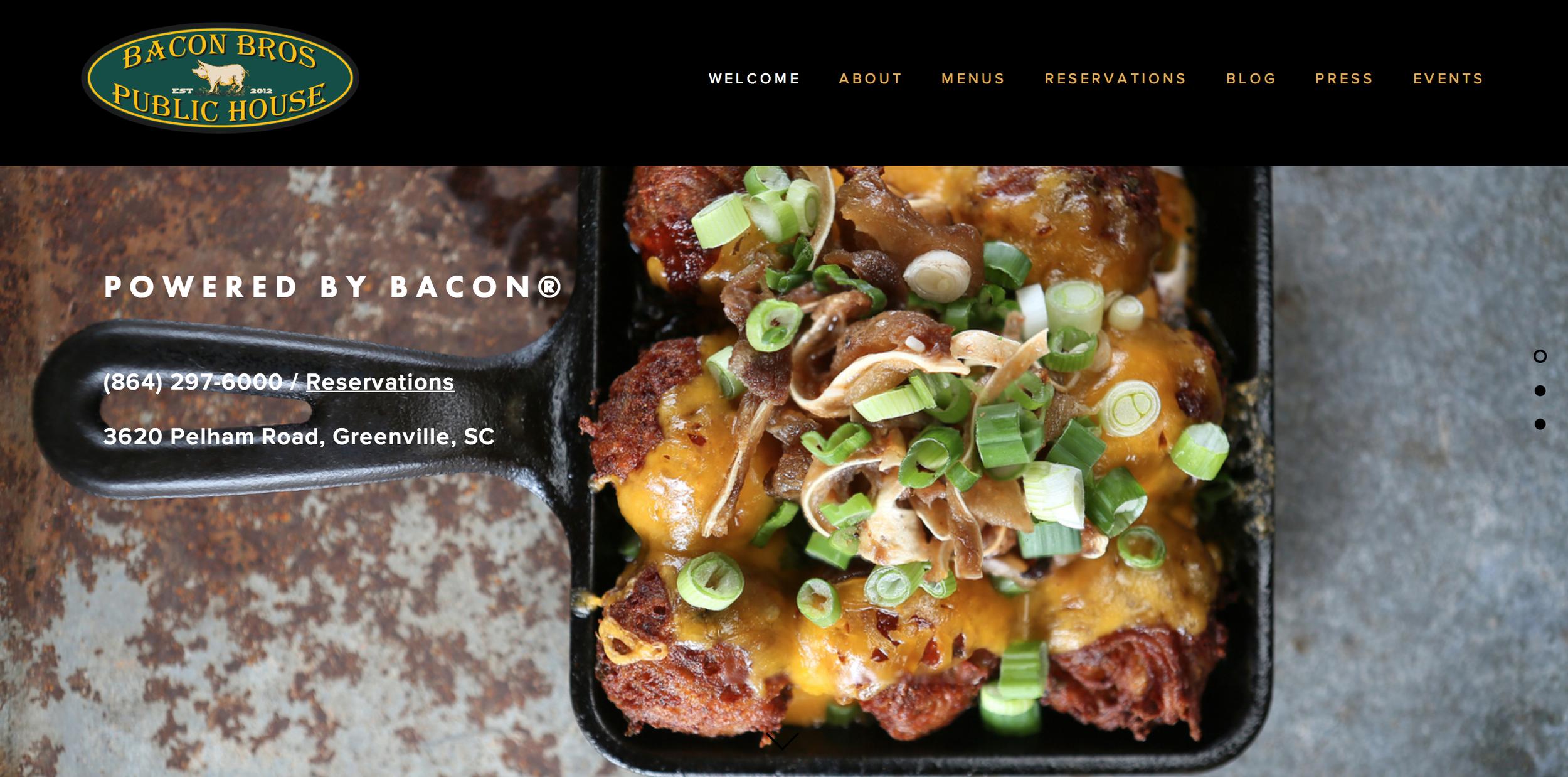 Website design for Bacon Bros. Public House