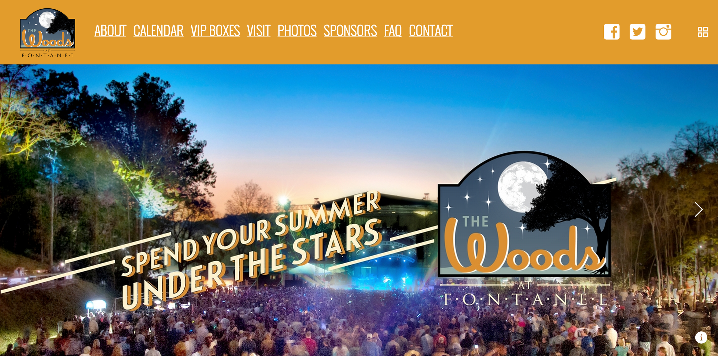 Website design for the Woods Amphitheater