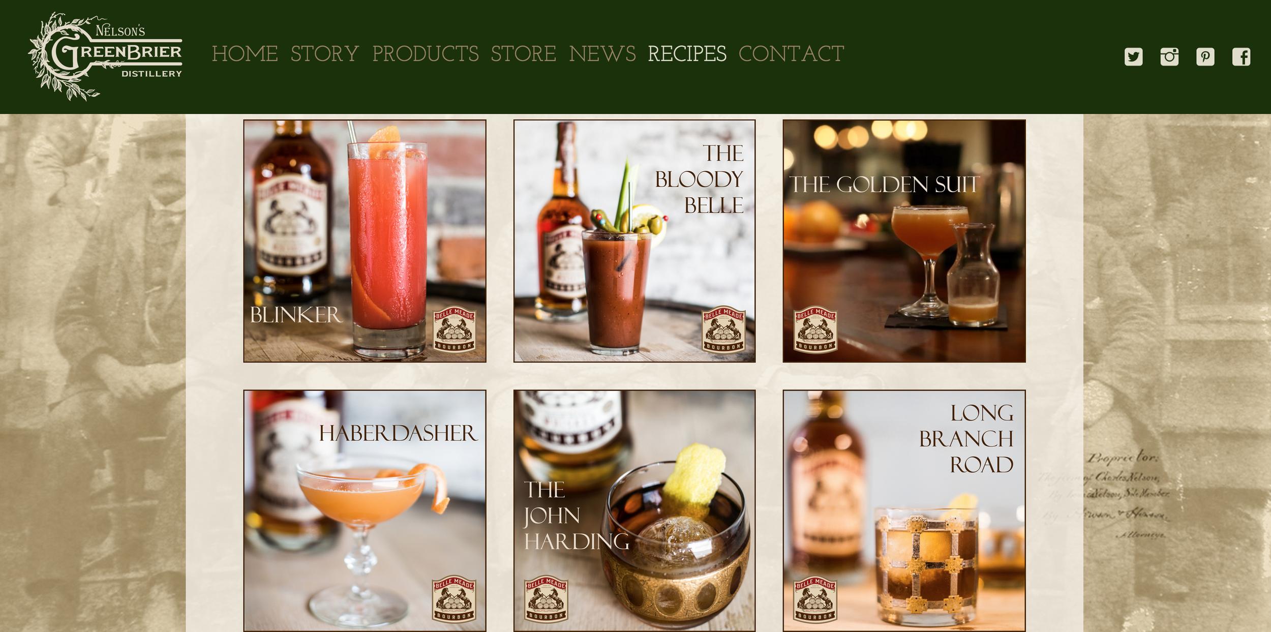 Website design for Nelson's Green Brier Distillery
